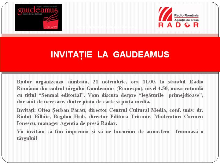 Invitatie Masa Rotunda Gaudeamus 2015 newsletter